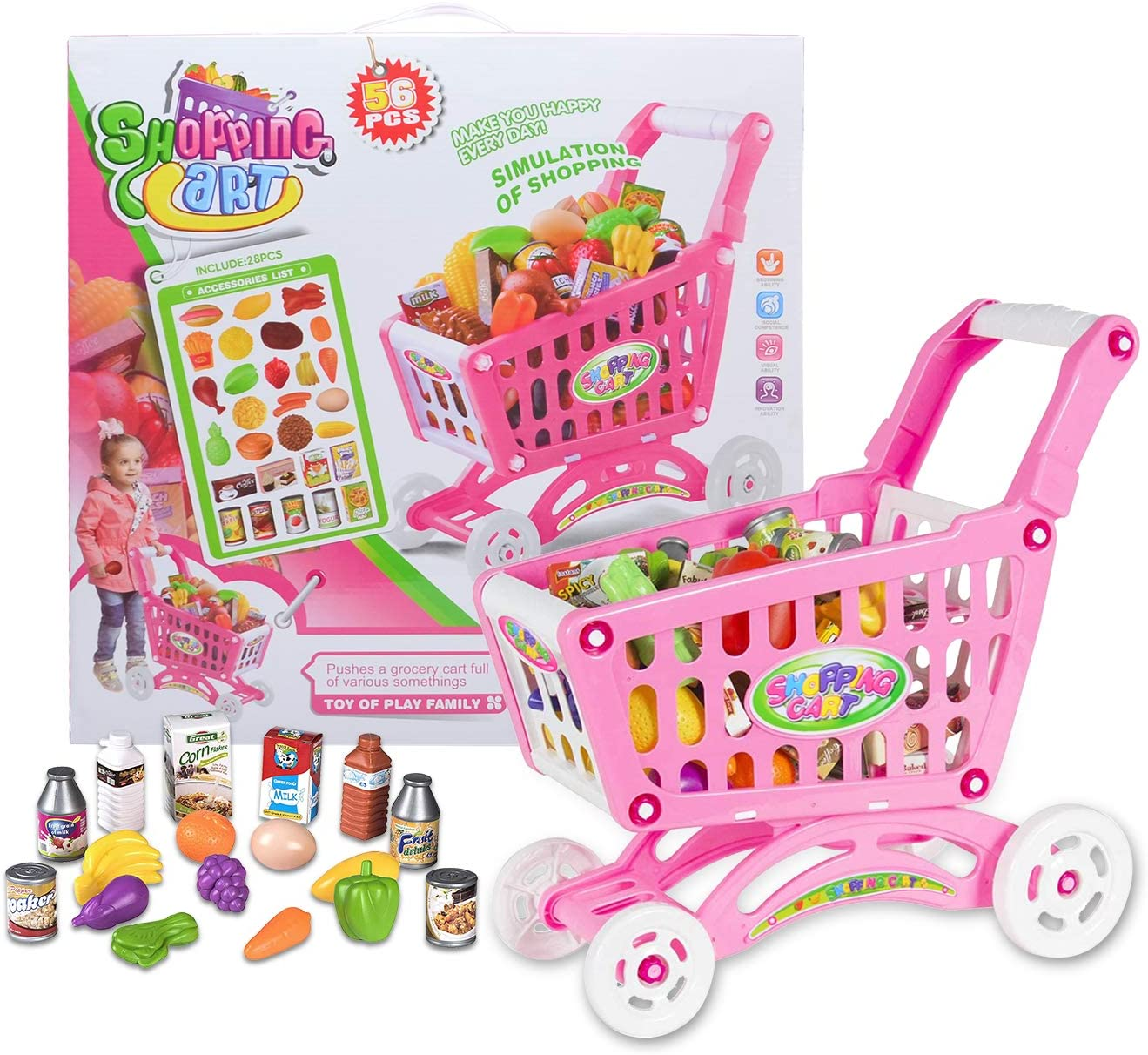 NATSUKAWA Rose Pink Large Shopping Day Grocery Cart – Toy Shopping Cart with Pretend Play Food Items – Realistic Kitchen Accessories for Kids Ages 3 and Up ( 56Pieces)