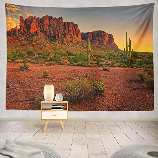 threetothree Tapestry Sunset Desert Mountains Arizona Usa Hanging Tapestries 60 X 80 Inch Wall Hanging Decor for Bedroom Livingroom Dorm