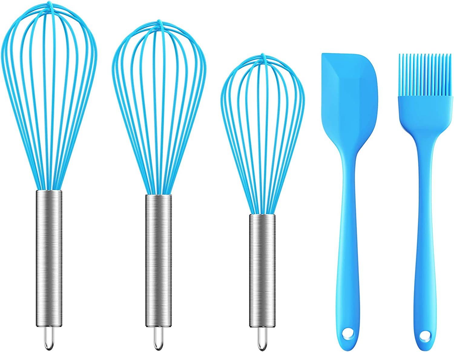 Ouddy 5 Pack Silicone Whisk Set Kitchen egg Whisk Wire Wisks for Cooking, Blending, Whisking, Beating, Stirring and Baking with Silicone Spatula & Silicone Brush (Blue)