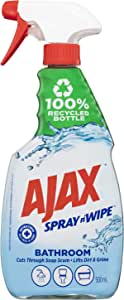 Ajax Spray n' Wipe Bathroom Antibacterial Disinfectant Household Cleaner Trigger Surface Spray Fresh Burst Made in Australia Soap Scum Remover 500ml