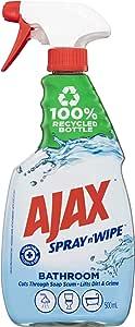 Ajax Spray n' Wipe Bathroom Antibacterial Disinfectant Household Cleaner Trigger Surface Spray Fresh Burst Made in Australia Soap Scum Remover 500ml