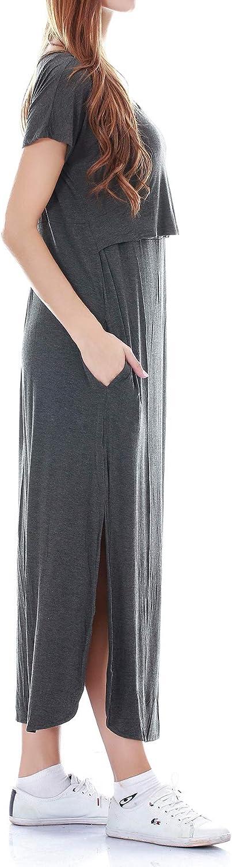 Smallshow Damen Umstandsmode Stillkleid Umstandskleid Schwangerschaft Umstands Long Kleid