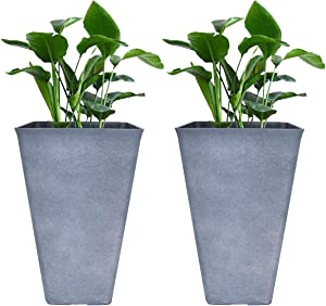 LA JOLIE MUSE Tall Planters 26 Inch Large Flower Pots Pack 2, Indoor and Outdoor Patio Deck Resin Rectangular Planters, Weathered Gray