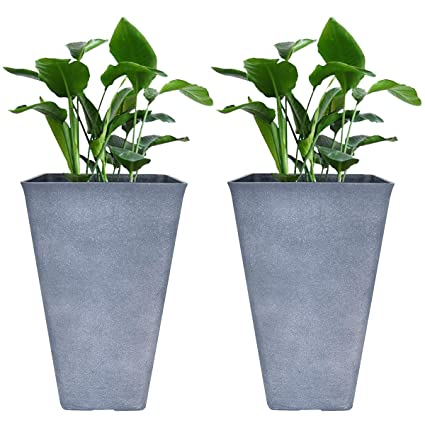 225 & Tall Planters 26 Inch Large Flower Pots Pack 2 Indoor and Outdoor Patio Deck Resin Rectangular Planters Gray