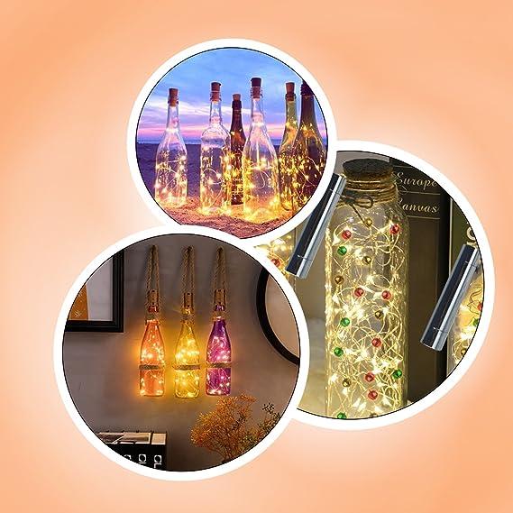 Luces Led Pilas,LED Lámpara de Botella para Navidad,DIY Decoración Navideña Botella Guirnalda de Luz - HaoXuan (6 pcs): Amazon.es: Belleza