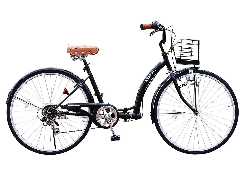 GRAPHIS GR-CITY OT-26 26インチ 折り畳み自転車 シティサイクル 一般車 6段変速 自転車 メンズ レディース ママチャリ おしゃれ 通販 激安【送料無料】 B00NXI72WA ブラック ブラック