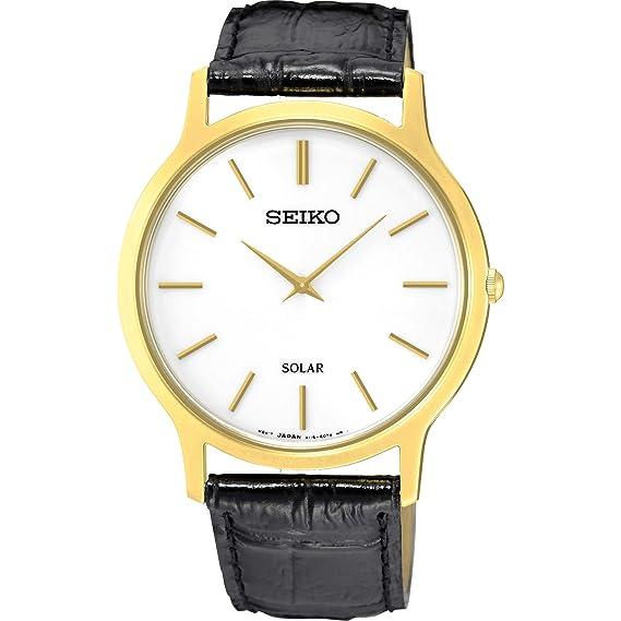 Seiko Reloj Analógico para Mujer de Energía Solar con Correa en Cuero SUP872P1: Amazon.es: Relojes