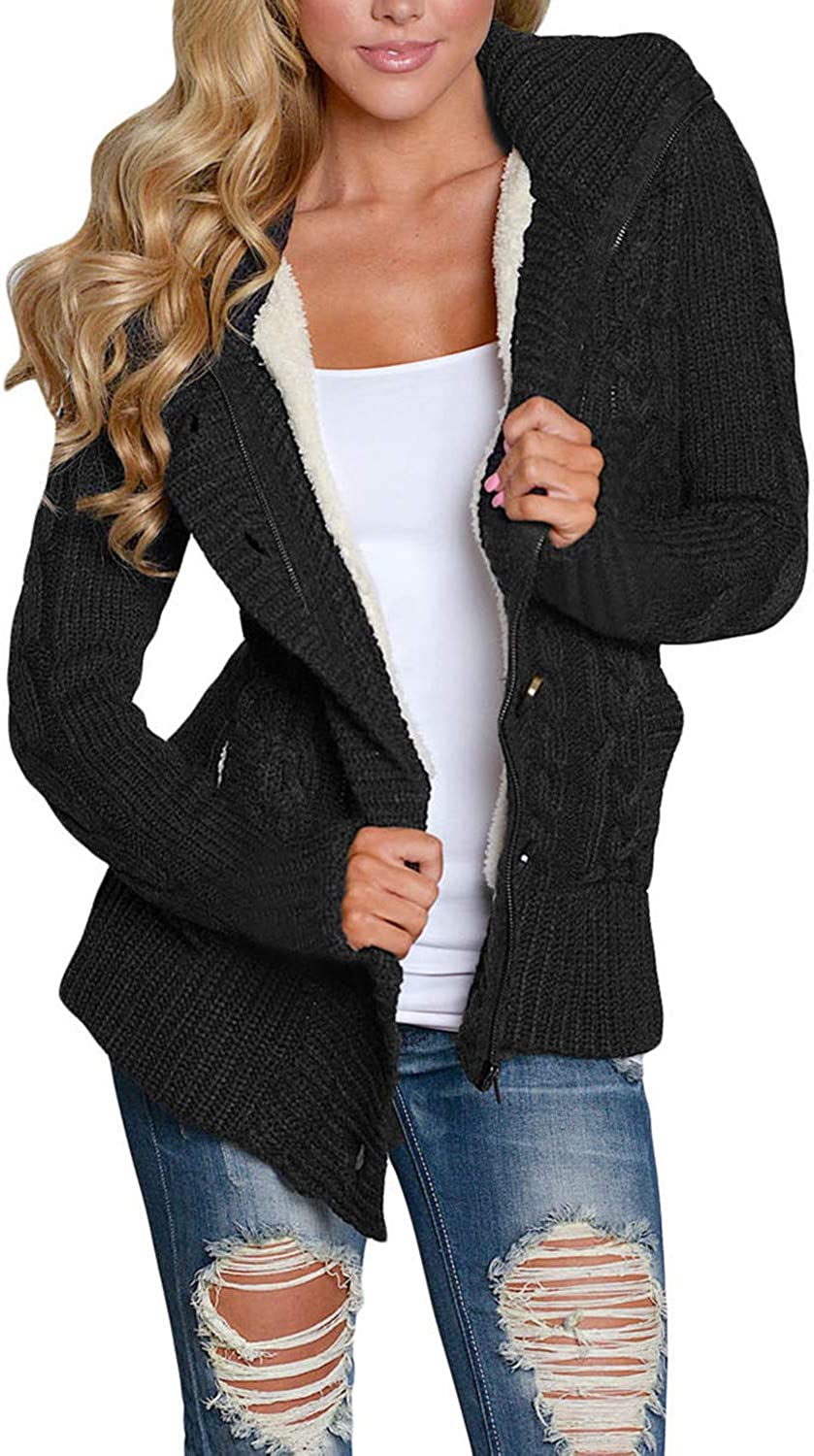 GOSOPIN Womens Winter Warm Cable Knitted Outwear Button up Hooded Cardigans Fleece Sweater Jackets Coat S XXL