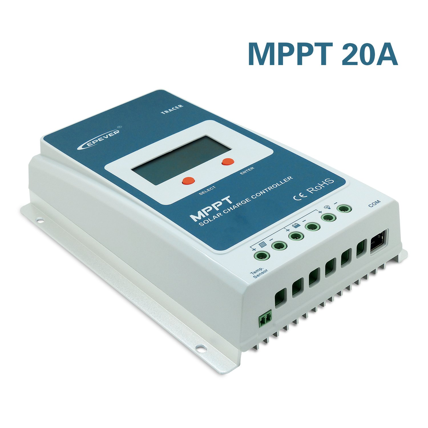 EPEVER MPPT Solar Charge Controller 20A 12V/24V Auto Work Tracer2210A Solar Panel Regulator with LCD Display Max PV 100V Input Power 260W/520W (20A, Tracer2210A) by EPsolar (Image #5)