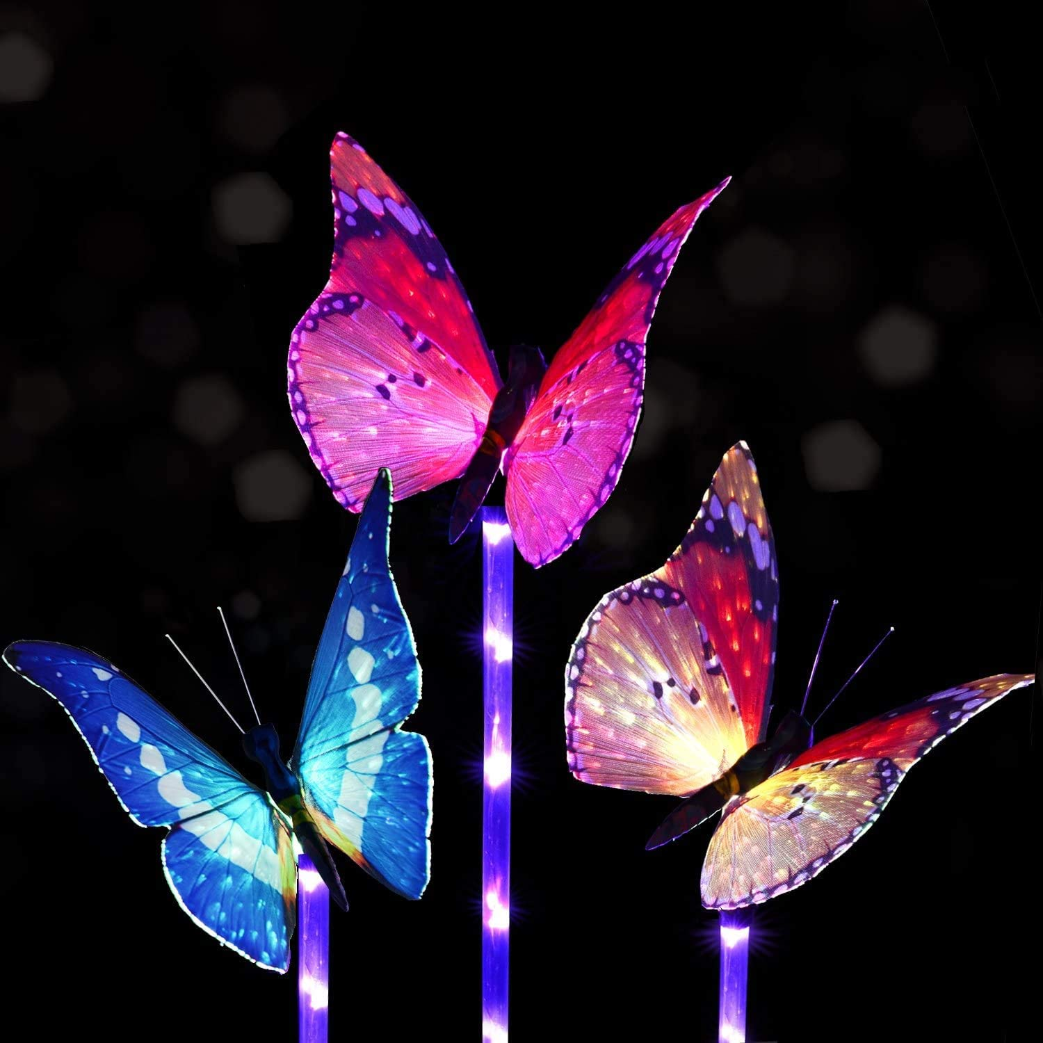Outdoor Garden Solar Lights - 3 Pack Fiber Optic Butterfly Solar Powered Lights, Color Changing LED Solar Stake Lights, with a Purple LED Light Stake for Garden, Patio, Backyard