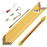 Boeray 11' Fiberglass Running Electrical Wire Cable Pulling Fish Tape kit with 5 Different attachments in a Carrying…