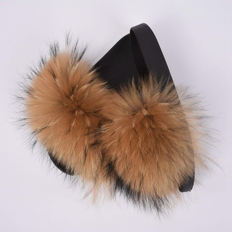 Womens Fur Slipper Real Raccoon Fur Fashion Style Furry Slides Soft Warm Big Fluffy Fur Shoes S6020E,Raccoon Royal Blue,39