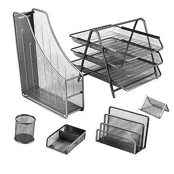 Amazon.com : YIMU 6 Piece Mesh Wire Office Desktop Organizer Set - 3 ...