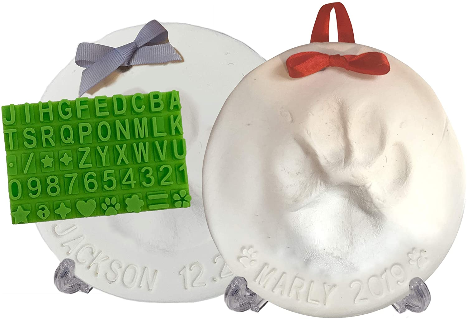 Ultimate Pawprint Keepsake Kit (Makes 2) - Paw Print Christmas Ornament w/ Bonus Personalization Tool & Display Stands! For Dogs, Cats & Pets. Non-toxic. Clay Air-Dries Soft, Light & Uncrackable.