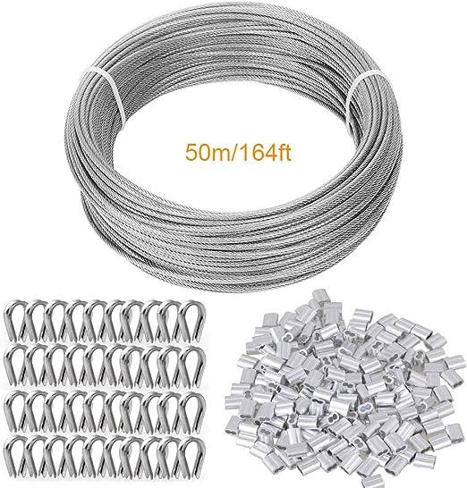 TooTaci - Kit de alambre de acero para jardín, incluye cable de alambre de acero inoxidable, mangas de aluminio y dedal de acero inoxidable, 164 pies: Amazon.es: Hogar