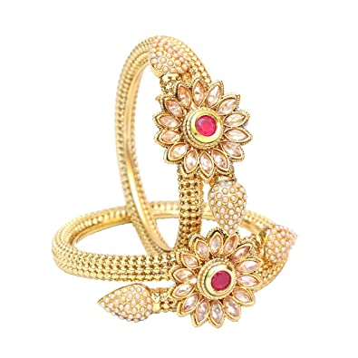 Amazon Com Indian Traditional Gold Plated Ruby Flower Design Bridal