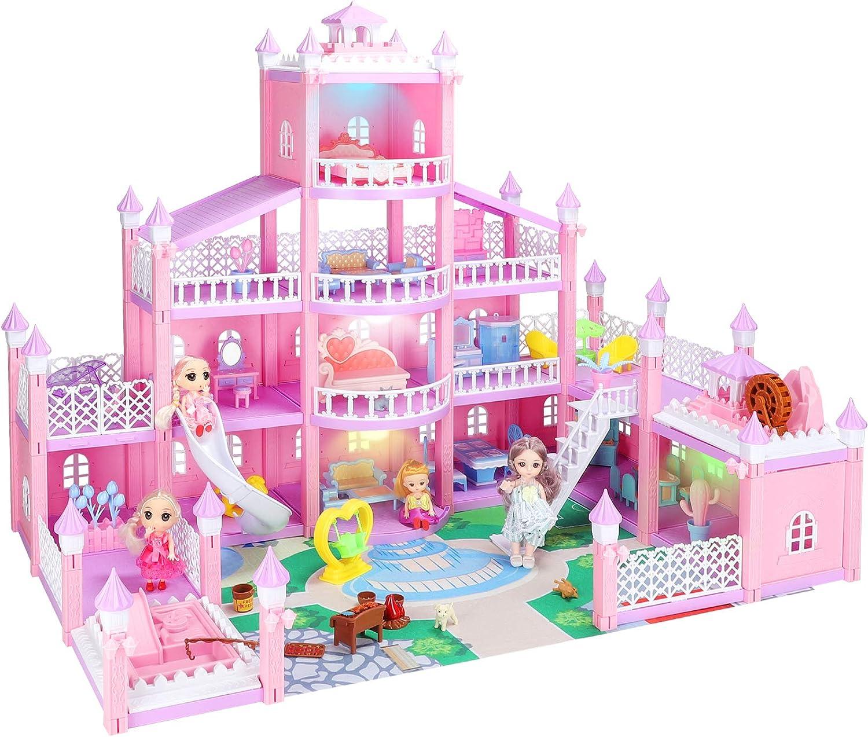 KAINSY Casa de Muñecas,344PCS Casa de Muñecas para Niñas con Accesorios y mobiliario Muñecas, 4 Pisos