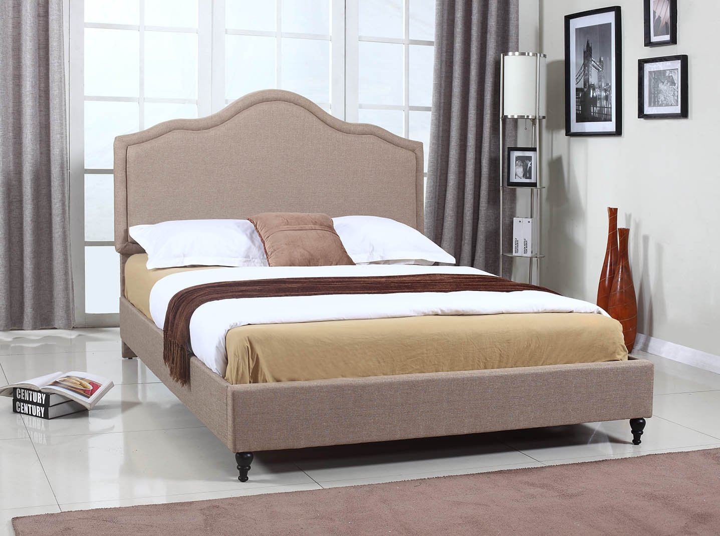 Home Life Cloth Light Brown Linen 51 Tall Headboard Platform Bed with Slats Full – Complete Bed 5 Year Warranty Included 009