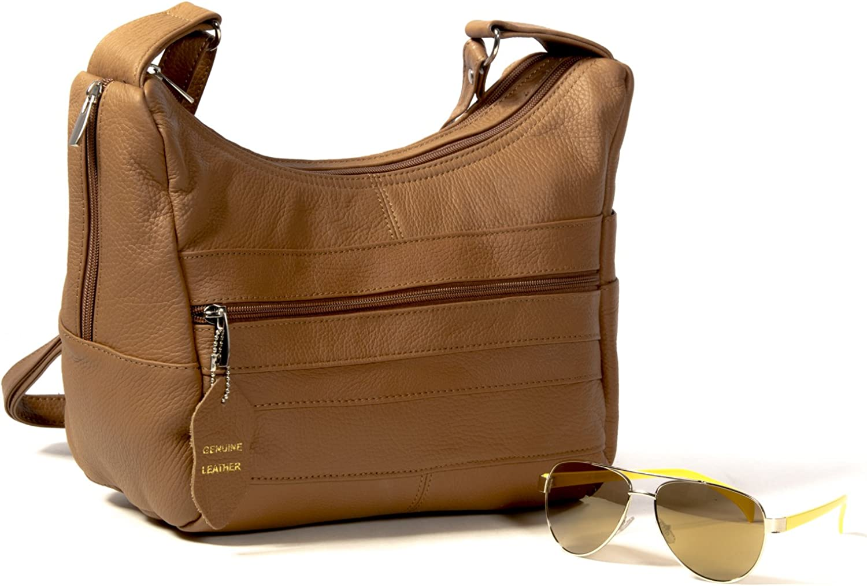 Goson Womens Genuine Leather Multi Pocket Shoulder Handbag Purse