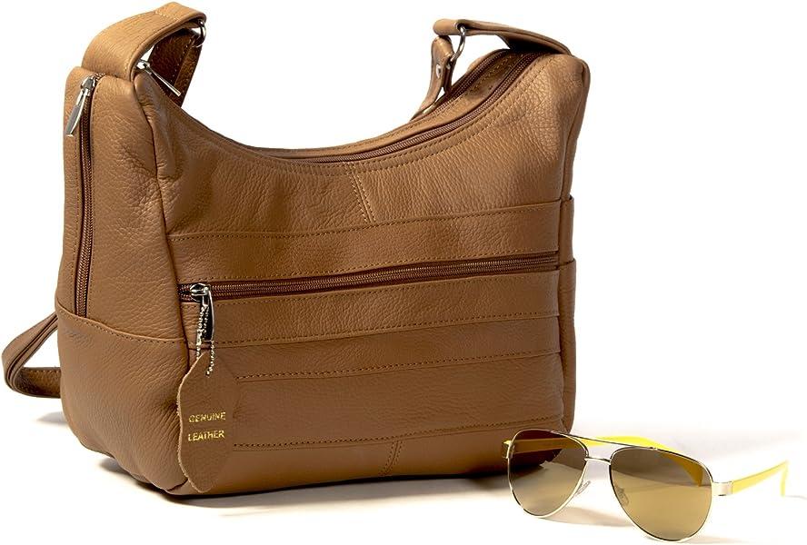 Goson Womens Genuine Leather Multi Pocket Shoulder Handbag Purse Light Brown 1aee428603b17