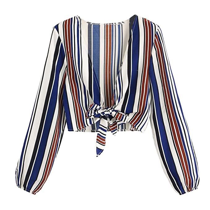 f0ecdb02aeca82 Image Unavailable. Image not available for. Color: W-GRACE Women Striped  Deep V Neck Shirt Tie Knot Front Crop Top Long Sleeves