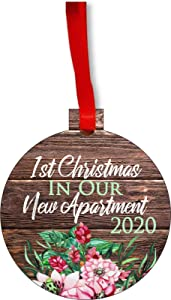 Lea Elliot Inc. Ornament New Home 1st Christmas in Our New Apartment 2020 First Round Shaped Flat Hardboard Christmas Ornament Tree Decoration - Unique Modern Novelty Tree Décor Favors Product Name