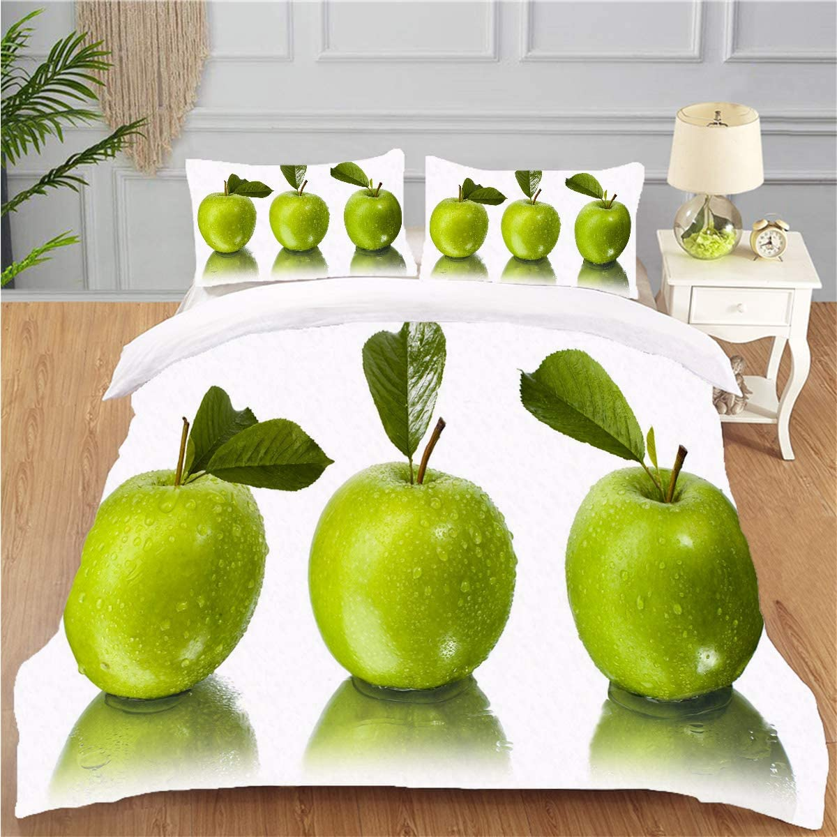 OTTOSUN Bedding Personality 3 Piece Duvet Cover Set Three Green Apples Stood Side by Side with Their Reflections belowgreen White Soft Breathable Home Warm Duvet Comforter Cover,Full
