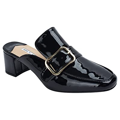 b3818e9efb53 AnnaKastle Kara Womens Patent Heel Mule Slipper with Gold Buckle