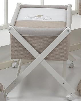 Vestidura para minicuna con ventana nubes luna beig: Amazon.es: Bebé