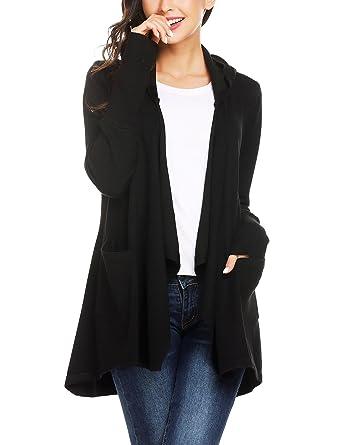 44db06ced2 Mofavor Women s Light Sweater Fabric Asymmetric Hem Open Front Long Cardigan  with Pockets Black S