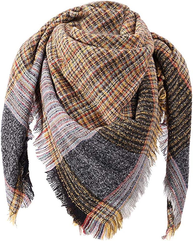 Wander Agio Women/'s Long Shawl Scarf Big Grid Winter Warm Lattice Large