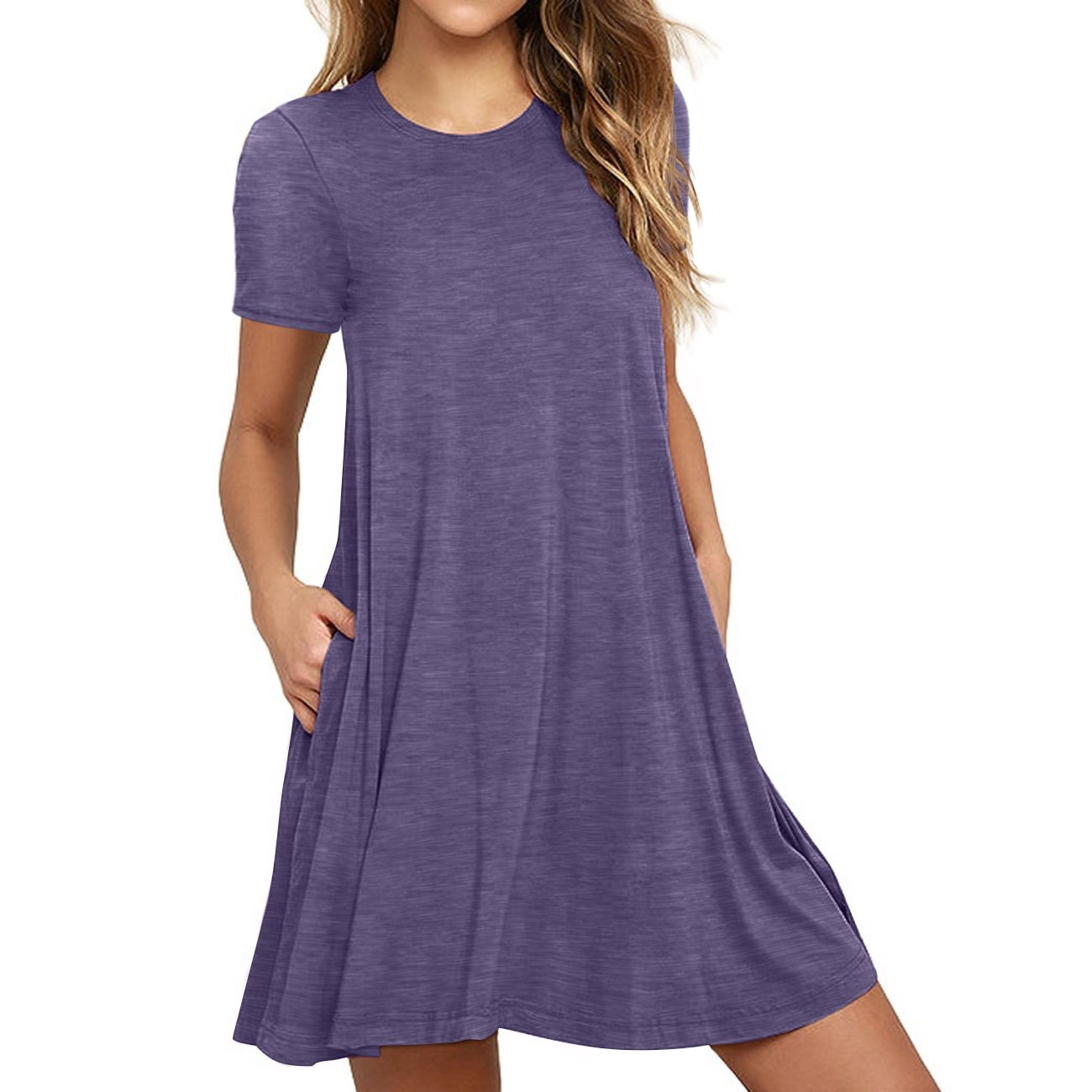 Naokenu Women Short Sleeve Swing Dress with Pockets Casual Loose T-Shirt Dress(S,Purple Gray)