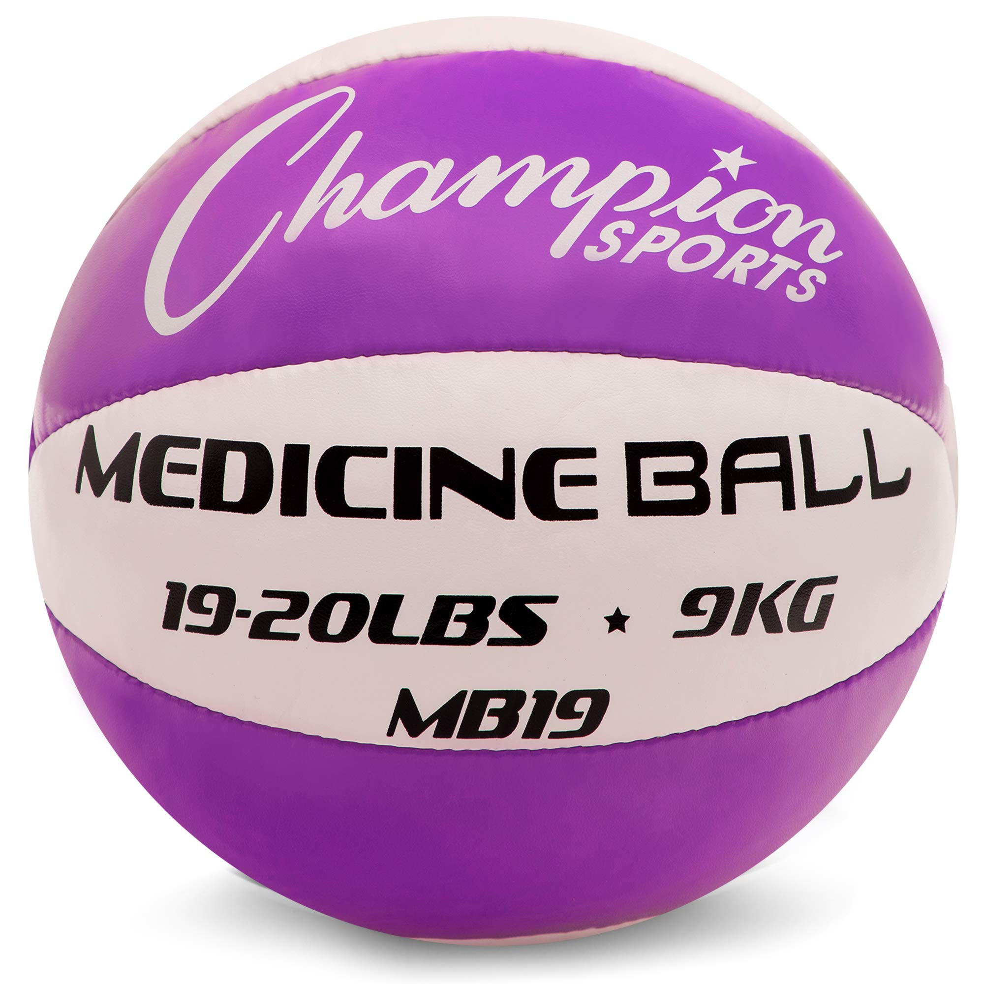 Champion Sports Exercise Medicine Balls, 19-20 lbs, Leather with No-Slip Grip - Weighted Med Ball Set for Weight Training, Stability, Plyometrics, Cross Training, Core Strength - Heavy Workout Ball