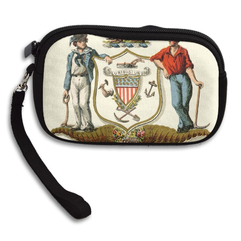Wisconsin State Coat Of Arms Deluxe Printing Small Purse Portable Receiving Bag