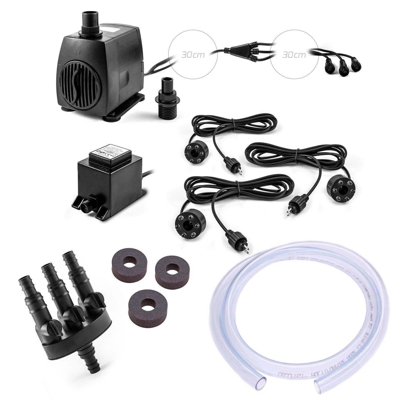 Bomba para fuente (Set SP3de S para Deko-Shop-Hannusch–Fuente con 3agua ausläufen 3salida LED Iluminación Agua parte Bomba para fuente (12V AC 1300L/h CLGarden