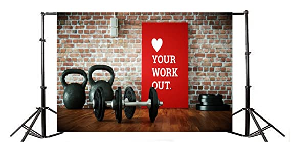 Amazon.com : OFILA Gym Backdrop 5x3ft Dumbbell Sports Equipment Photos Physical Exercise Club Background Gymnasium Coach Vintage Brick Wall Health Exercise ...