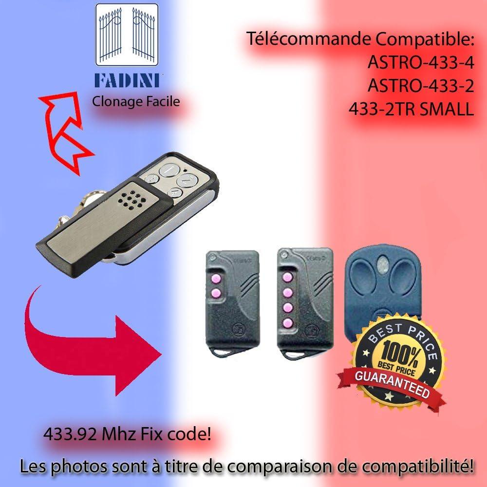 T/él/écommande 433.92 MHz Pour FADINI ASTRO-433-4,433-2,433-2TR SMALL Remplacement,Clone