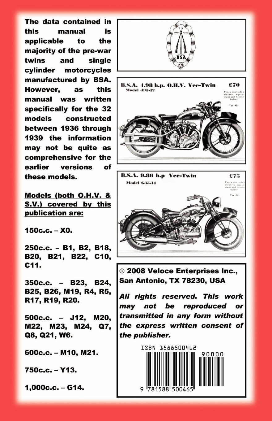 THE BOOK OF THE BSA - AN OWNERS WORKSHOP MANUAL FOR PRE-WAR BSA  MOTORCYCLES: W. Haycraft, Floyd Clymer, VelocePress: 9781588500465:  Amazon.com: Books
