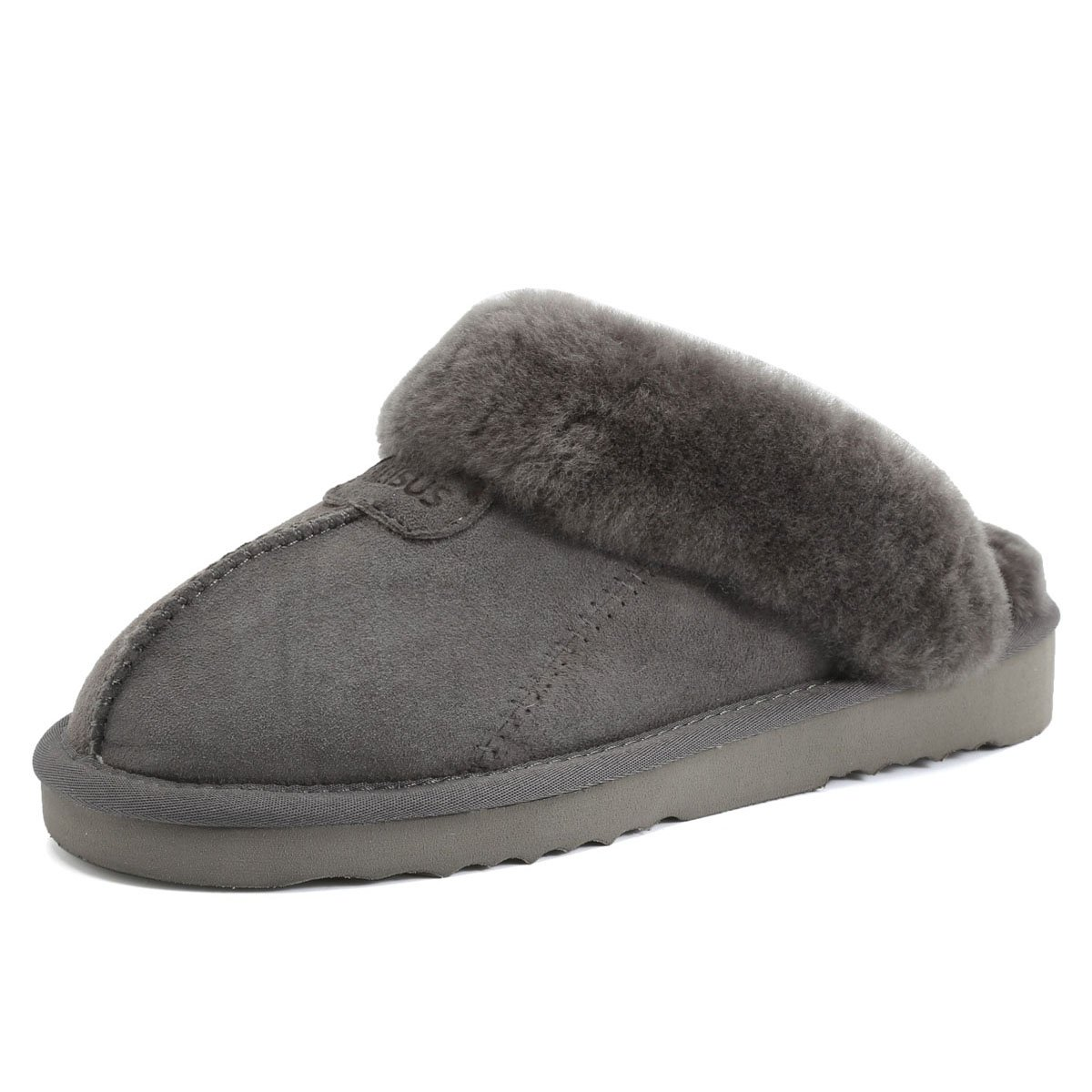 MEISUS Women's Comfort Ultra Soft Fluffy Slippers Wool Plush Fleece Lined House Shoes Indoor, Outdoor Anti-Skid Sole,USMMT03-Grey-40