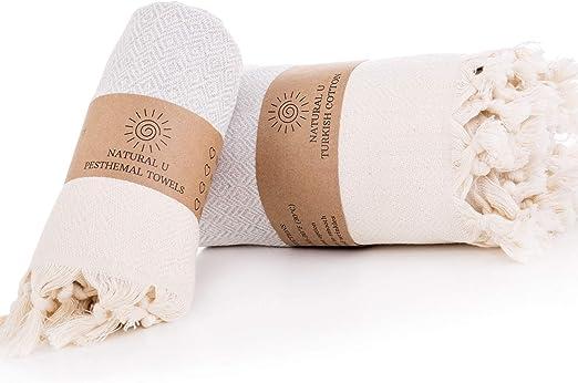 NATURAL U   Set of 2   Turkish Cotton Peshtemal   Prewashed   34x66inch 17x35 inch for Body & Hair   Turkish Bath Towel for SPA, Beach, and Bathroom Cotton   Lightweight Towel