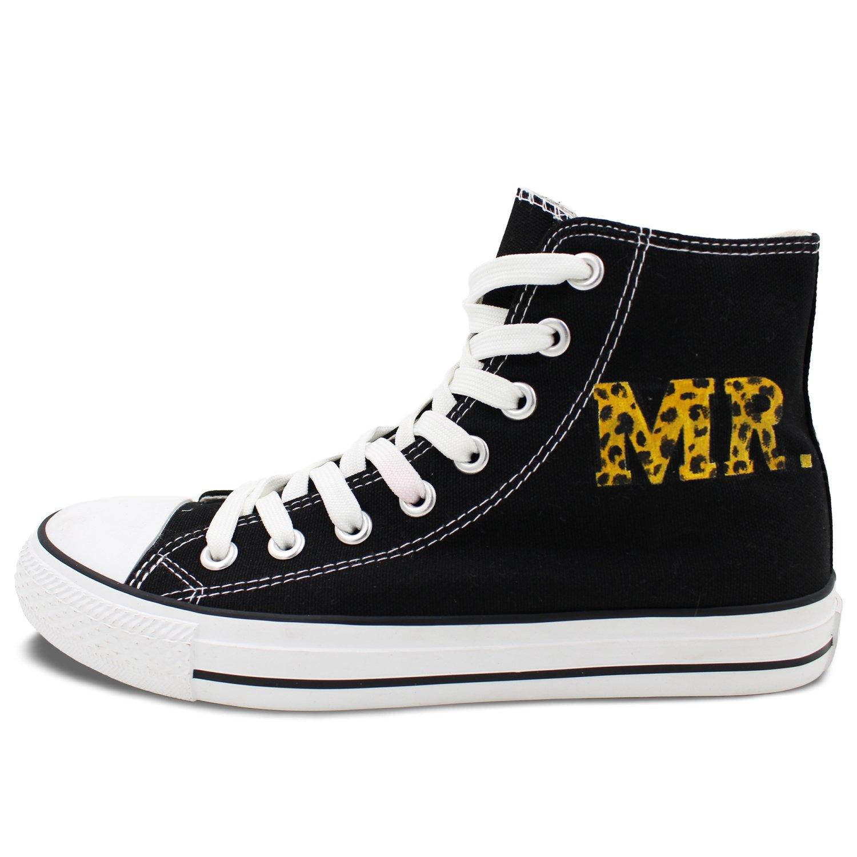 Mrs Letters Hand Painted Shoes Women Men Canvas Sneakers Wen Custom Leopard Mr