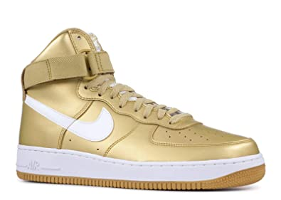 1 Air Qs Mens Gold Metallic White Force Retro Leather Nike High lcK1JF
