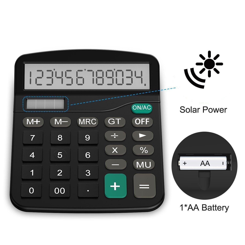 UMEI 12 Digit Desk Calculator Large Buttons Solar Desktop Calculator for School Home Office black (Excluding batteries)