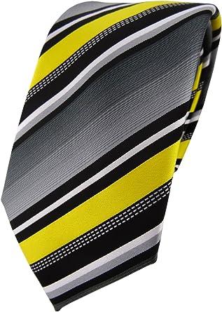 TigerTie - Corbata - amarillo plata gris blanco rayas: Amazon.es ...