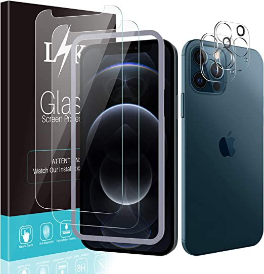 Clear 4 Pack LϟK Screen Protector Compatible for iPhone 12 Pro Max 6.7-inch Tempered-Glass Easy Installation Tray 9H Hardness Case Friendly