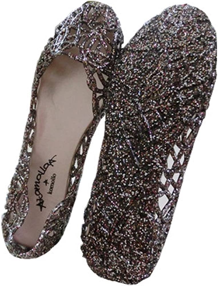 half price online here the best Global tesco Womens Crystal Glitter Plastic Jelly Hollowed Flat ...