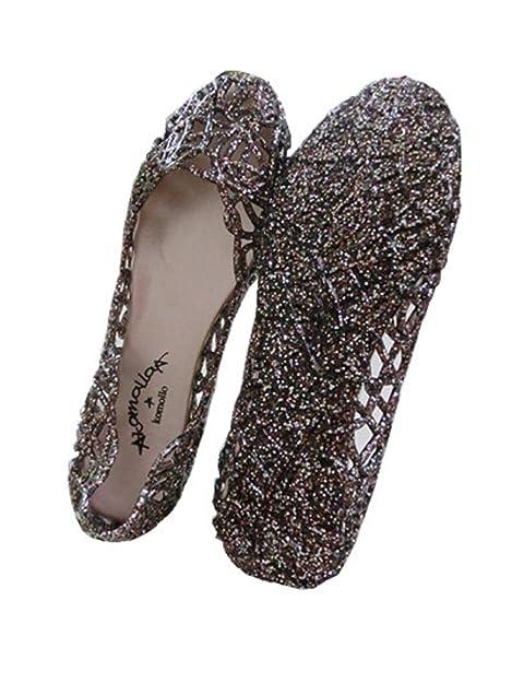 87bb24085883ca Global tesco Womens Crystal Glitter Plastic Jelly Hollowed Flat Sandals  Beach Pumps Shoes Black 7 B