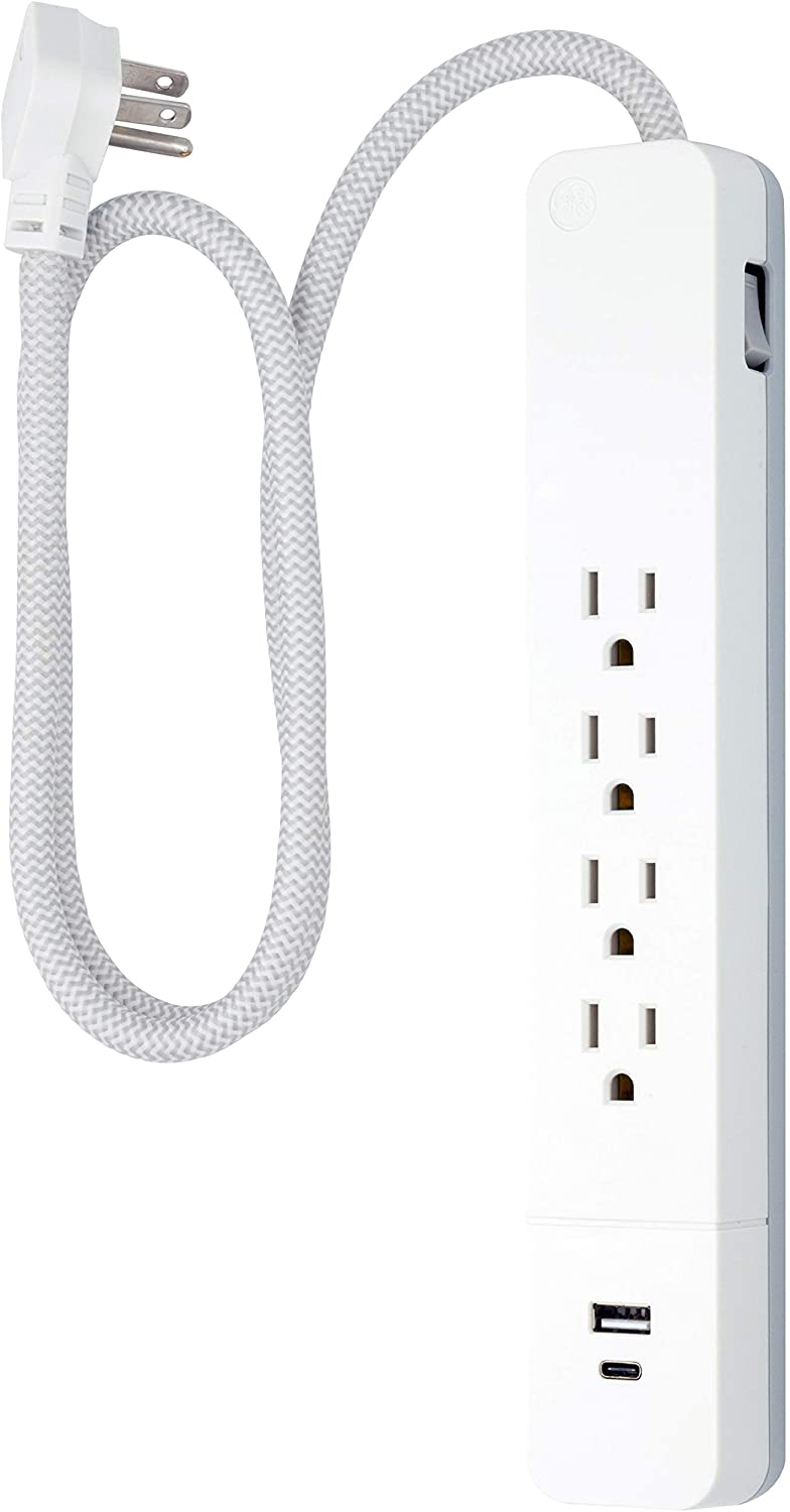 GE UltraPro 4 Outlet Surge Protector, 15W USB-C Charging, 3 ft Designer Braided Extension Cord, for iPhone 11/Pro/Max/XR/XS/X, iPad Pro, Samsung Galaxy, Google Pixel, 1060 Joules, White, 41354