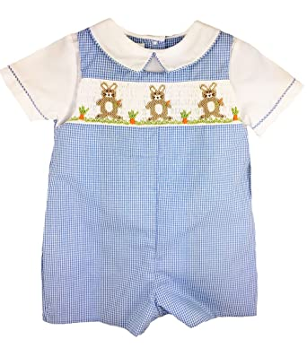 9bc33e58a Amazon.com  Petit Ami Baby-Boys Easter Bunny Smocked Romper With ...
