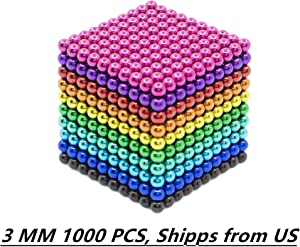 1000 pcs 3mm 10 Colors Magnetic Balls Large Cube Rainbow Building Blocks Toys Sculpture Educational Game Fun Office Toy for Adults Intelligence Learning Development Imagination Stress Relief Gift